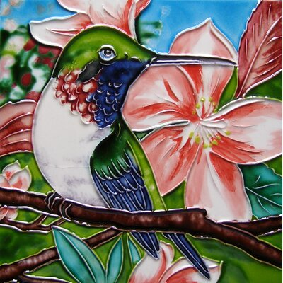 8 x 8 Ceramic Single Sitting Hummingbird Decorative Mural Tile