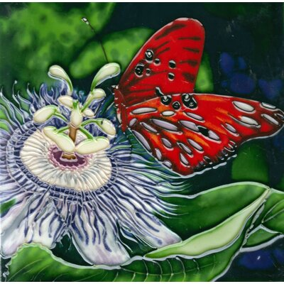8 x 8 Ceramic Butterfly and Passion Fruit Flower Decorative Mural Tile