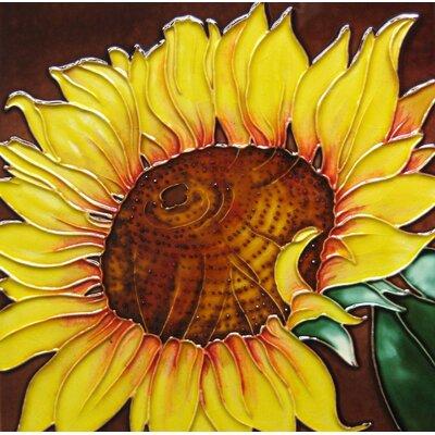 8 x 8 Ceramic Single Sunflower with Center Decorative Mural Tile