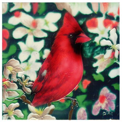 8 x 8 Ceramic Single Cardinal with Cherry Blossom Decorative Mural Tile