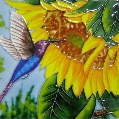 8 x 8 Ceramic Hummingbird and Sunflower Decorative Mural Tile