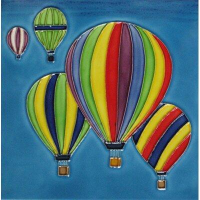 8 x 8 Ceramic Hot Air Balloons Decorative Mural Tile