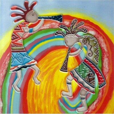 8 x 8 Ceramic 2 Kokopellis with Rainbow Background Decorative Mural Tile