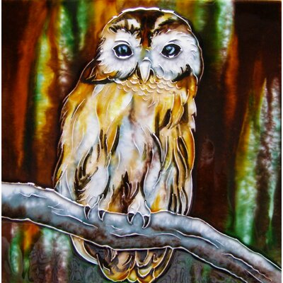 8 x 8 Ceramic Single Sitting Owl on a Branch Decorative Mural Tile