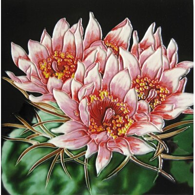 8 x 8 Ceramic Three Cactus Blooms Decorative Mural Tile