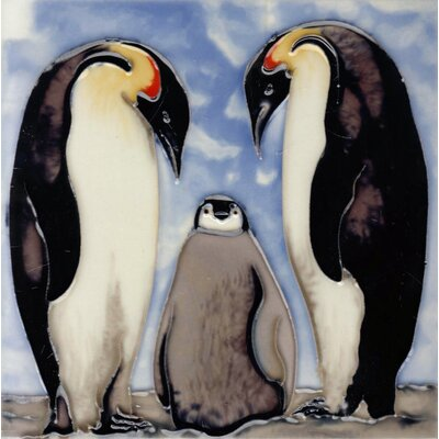 8 x 8 Ceramic King Penguin Family Decorative Mural Tile
