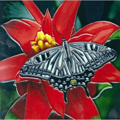 8 x 8 Ceramic Butterfly Decorative Mural Tile Red/Green