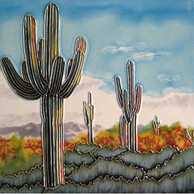 8 x 8 Ceramic Saguaros Decorative Mural Tile