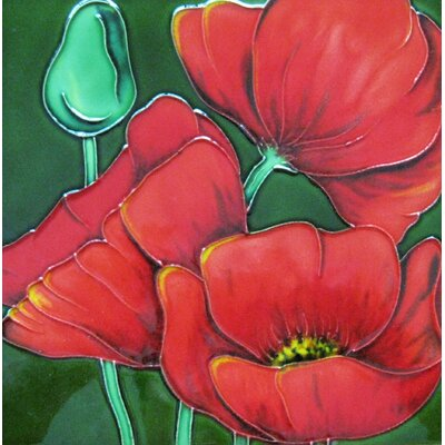 8 x 8 Ceramic Three Red Poppies Decorative Mural Tile