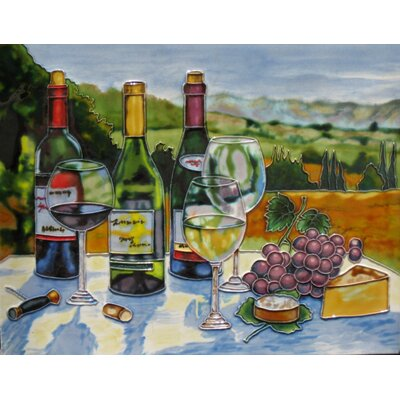 11 x 14 Ceramic Picnic at the Tuscany Decorative Mural Tile