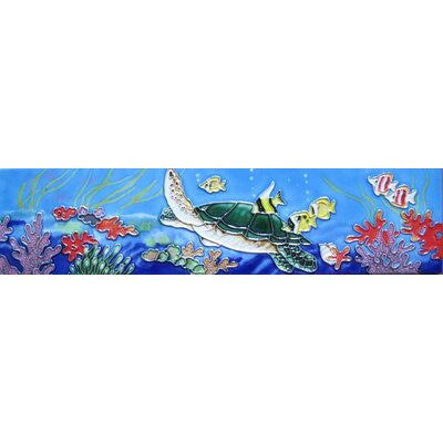 4 x 16 Ceramic Turtle and Tropical Fishes Decorative Mural Tile