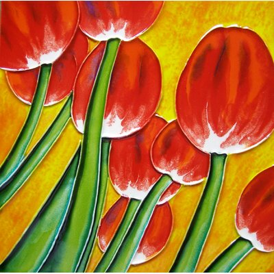 8 x 8 Ceramic Tulips with Background Decorative Mural Tile