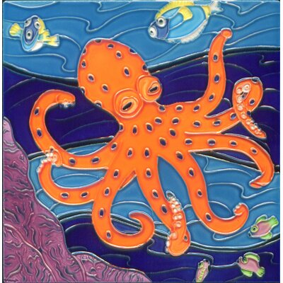 8 x 8 Ceramic Octopus Decorative Mural Tile