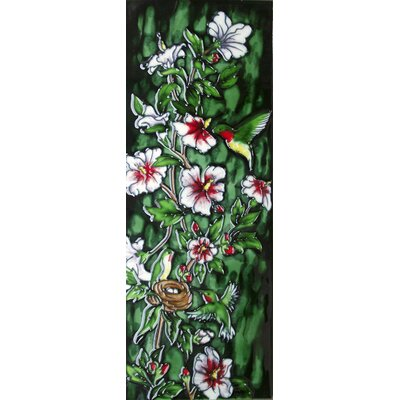 6 x 16 Ceramic Hummingbirds and the Flowering Vine (Vertical) Decorative Mural Tile