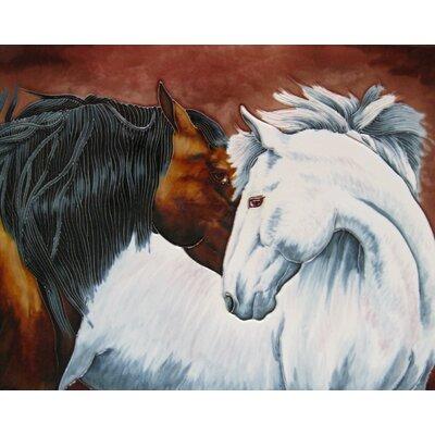 11 x 14 Ceramic 2 Horses Decorative Mural Tile