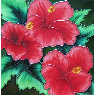 8 x 8 Ceramic Three Hibiscus Flower Decorative Mural Tile