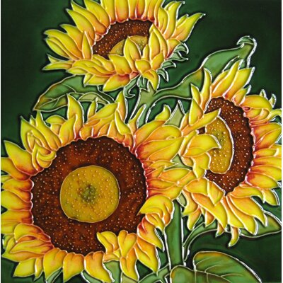 8 x 8 Ceramic Three Sunflowers Decorative Mural Tile in Green/Yellow