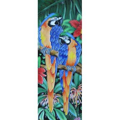 6 x 16 Ceramic Two Parrots Decorative Mural Tile