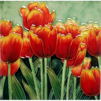 8 x 8 Ceramic Tulips Decorative Mural Tile