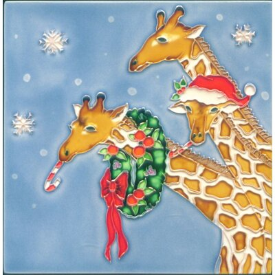 8 x 8 Ceramic Christmas Giraffes Decorative Mural Tile
