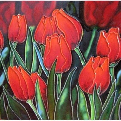 8 x 8 Ceramic Eight Tulips Decorative Mural Tile