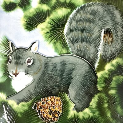8 x 8 Ceramic Squirrel Decorative Mural Tile