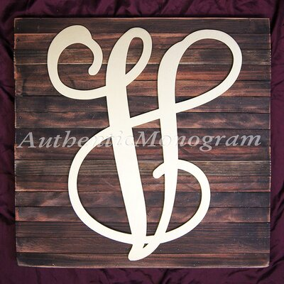 Single Letter Vine Mounted on Rustic Wood Board Wall Decor