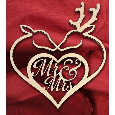 Mr. and Mrs. Deer Heart Wooden Wedding Sign