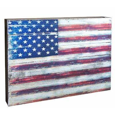 Flag of United States of America Rustic Wooden Wall Decor Size: 6 H x 8 W x 1.5 D