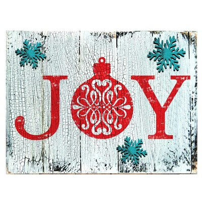 Joy Decorated Vintage Christmas Wall Décor Size: 6 H x 8 W x 1.5 D