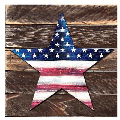 Star Rustic Patriotic Wooden Wall Décor Size: 8 H x 6 W x 1.5 D