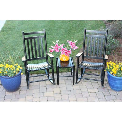 3 Piece Adult Slat Seat Porch Rocking Chair and Table Set Finish: Black