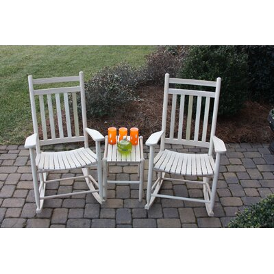 3 Piece Adult Slat Seat Porch Rocking Chair and Table Set Finish: Unfinished