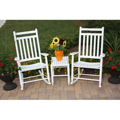 3 Piece Adult Slat Seat Porch Rocking Chair and Table Set Finish: White