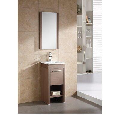 Modena 16 Single Vanity Set with Mirror Base Finish: Gray Oak