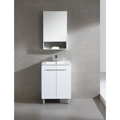Briceno 24 Single Bathroom Vanity Set Base Finish: White