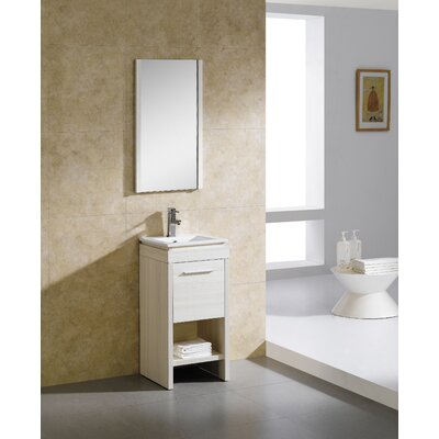 Modena 16 Single Vanity Set with Mirror Base Finish: Off-White Grain