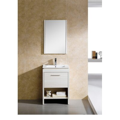 Modena 24 Single Vanity Set with Mirror Base Finish: Off-White Grain