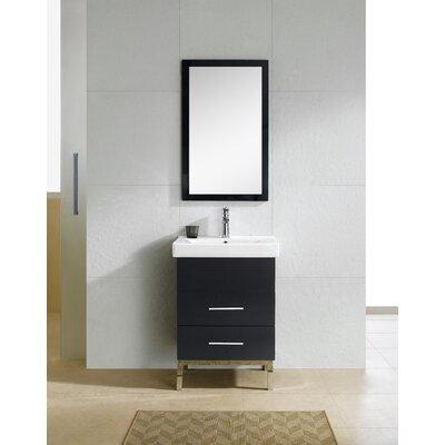 Fashion 24 Single Vanity Set with Mirror Base Finish: Black