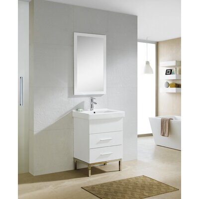 Kinsey 24 Single Vanity Set with Mirror Base Finish: White