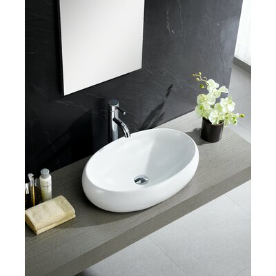 Modern Vitreous China Bulging Oval Vessel Bathroom Sink