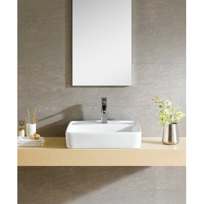Modern Vitreous Large Square Vessel Bathroom Sink with Overflow