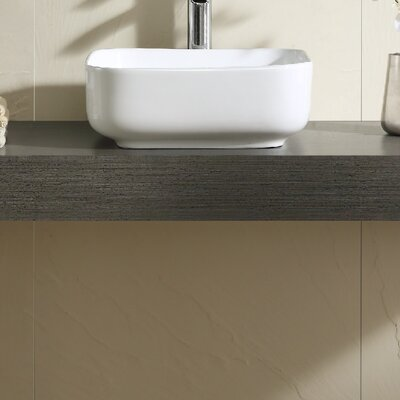 Vitreous China Thin Edge Square Vessel Bathroom Sink
