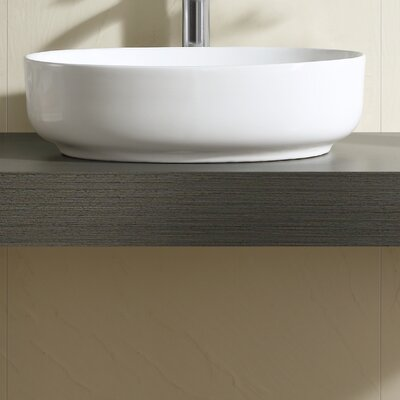 Vitreous China Thin Edge Oval Vessel Bathroom Sink