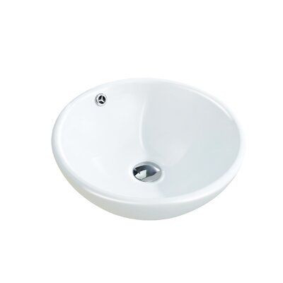 Modern Ceramic Circular Vessel Bathroom Sink with Overflow