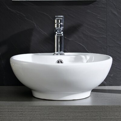Modern Vitreous Circular Vessel Bathroom Sink with Overflow