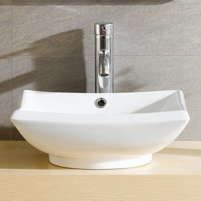 Modern Vitreous Square Vessel Bathroom Sink with Overflow