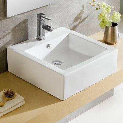 Modern Vitreous Square Vessel Bathroom Sink