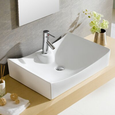 Modern Ceramic Rectangular Vessel Bathroom Sink