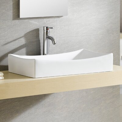 Modern Vitreous Rectangular Vessel Bathroom Sink